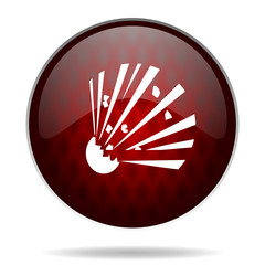 bomb red glossy web icon on white background.