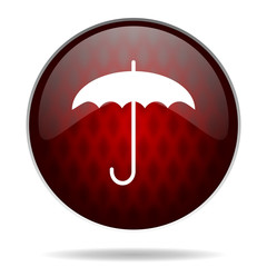 umbrella red glossy web icon on white background.