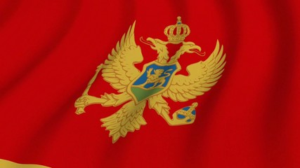 Waving national flag of Montenegro