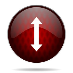 arrow red glossy web icon on white background.