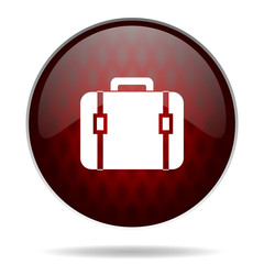 bag red glossy web icon on white background.