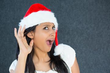 christmas woman eavesdropping