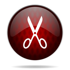 .scissors red glossy web icon on white background.