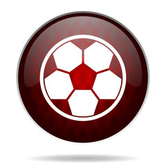 soccer red glossy web icon on white background.