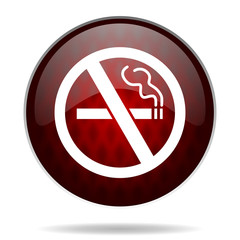 no smoking red glossy web icon on white background.