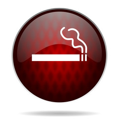 cigarette red glossy web icon on white background.