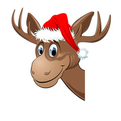 Head of a smiling reindeer with Santa Claus hat