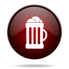 beer red glossy web icon on white background.