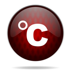 celsius red glossy web icon on white background.