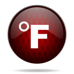 fahrenheit red glossy web icon on white background.