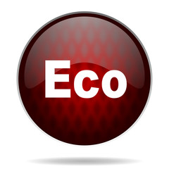eco red glossy web icon on white background.