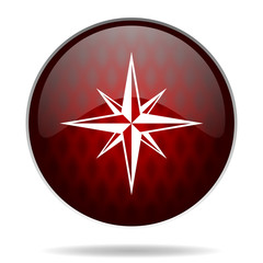 compass red glossy web icon on white background.