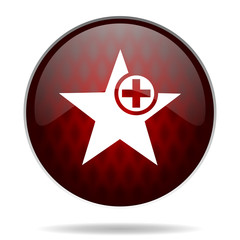 star red glossy web icon on white background.