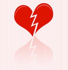 Illustrated red broken heart