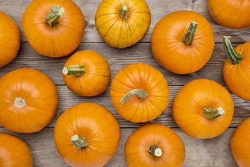 pumpkins on a rustic wood