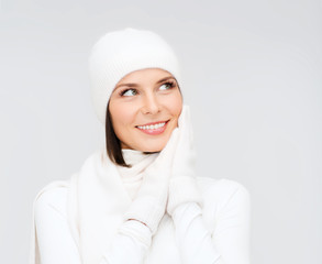 woman in hat, muffler and gloves