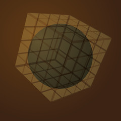 3D Transparent Cube With Globe Inside
