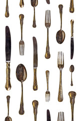 Pattern of vintage spoons, knives and forks