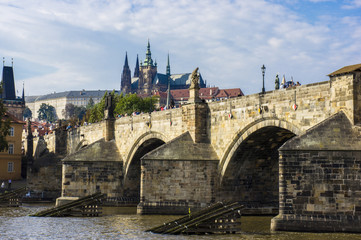 Panormany view of the Charles Bridge in Prague