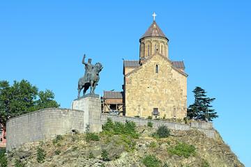 Metekhi church and statue of King Vakhtang I Gorgasali in Tbilis