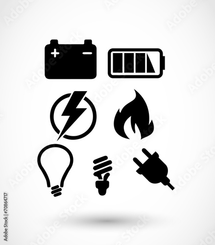 Electricity icon set vector - 70864717