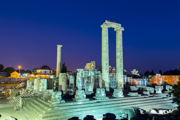 Temple of Apollo in Didyma antique city at twilight Turkey 2014