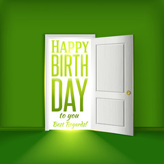 Happy birthday green room card concept with open door