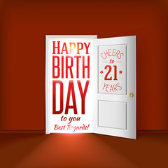 Happy birthday red card concept for 21 year congratulations