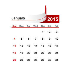 Vector simple calendar 2015 year january month.