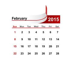 Vector simple calendar 2015 year february month.