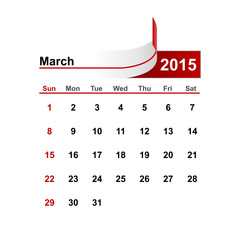 Vector simple calendar 2015 year march month.