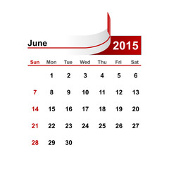 Vector simple calendar 2015 year june month.