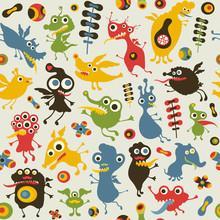 Seamless pattern coloré avec des monstres heureux.