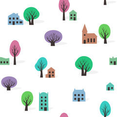 Seamless pattern of trees and buildings in spring