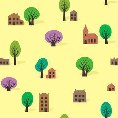 Seamless pattern of trees and buildings in summer