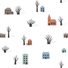 Seamless pattern of trees and buildings in winter