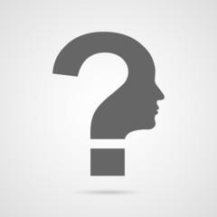 Vector question mark human head symbol.