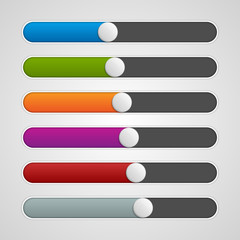 Vector UI sliders colors set. Volume controls.