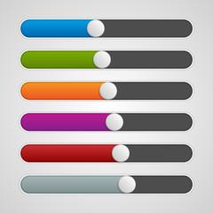 Vector UI sliders colors set. Volume controls.