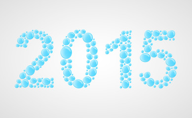 Vector 3D happy new year 2015 text design. Water drops.