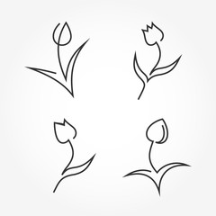 Set of abstract tulip icons