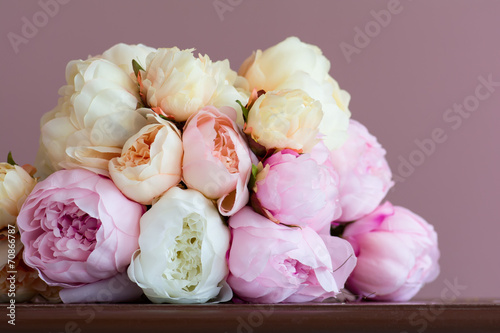 Poster Lente Pink peony bouquet