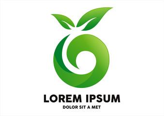 leaf circle ecology logo vector