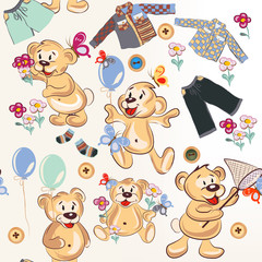 Cute cartoon seamless pattern with bears in childish style