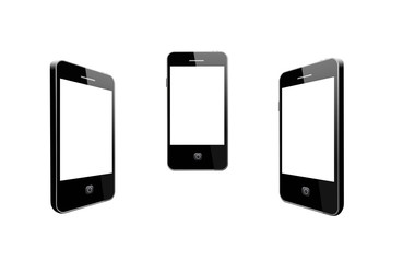 Modern mobile phones on the white background