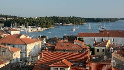Aerial view of Porec port and houses, Istria, Croatia