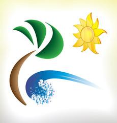 Icon of sunny beach