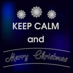 Keep Calm and Merry Christmas Blue Card Vector