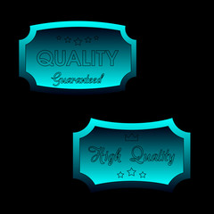 Blue Business Quality Label, Icon  Vector