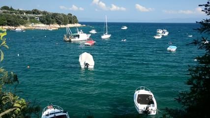 Small boats in a bay in Sveta Marina, Istria, Croatia